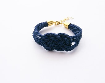 Navy blue infinity knot rope bracelet- dark blue tie it knot -friend gift