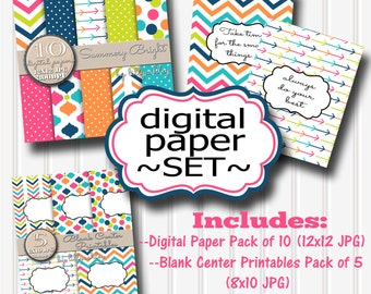 """50% OFF-Digital Paper Set """"Summery Bright""""-JPG format-Includes10 Digital Papers, 5 8x10 Blank Center Printables, & 2 Free Finished Prints!"""