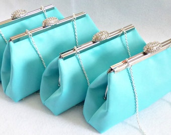 SALE! 5% OFF Set Of 4 Aqua Blue And Platinum Grey Bridesmaid Gift, Embroidered Bridal Clutch, Mother Of The Bride Gift, Bridesmaid Clutch