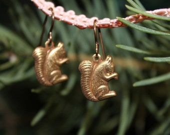 Brass Woodland Squirrel Earrings