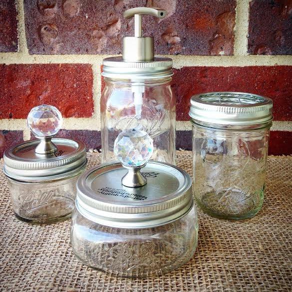 Bathroom accessories rust resistant mason jar bathroom set 4pc for Bathroom accessories jars