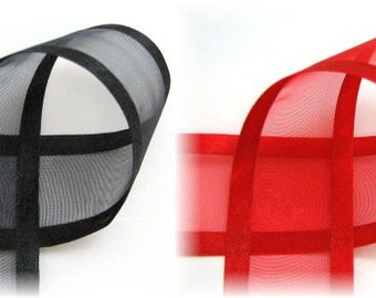 "2 yards 5/8"" Red OR Black Sheer Ribbon with Satin Edge"