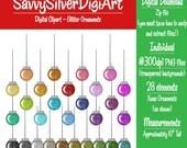 Glitter Ornaments Digital Clipart, Instant Download, Christmas Printable Ornaments Clip Art, Rainbow Colors, Colorful Ornaments