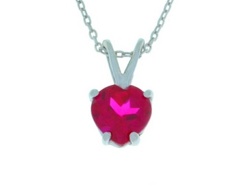 1 Carat Ruby Heart Pendant .925 Sterling Silver Rhodium Finish