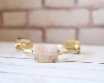 The Natural Landscape - Natural Agate - Wire Wrapped Gold Bangle