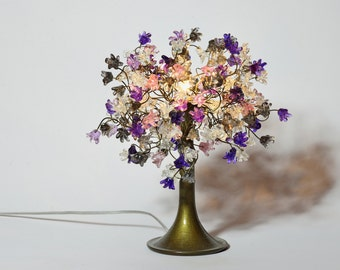 Decorative Table Lamp with Purple gray and clear flowers, small table lamp, midnight color flowers lighter.