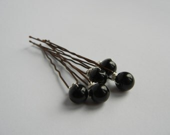 Black Hair Pins, Black Bobby Pins, Black Pearls, Bridal Hair Pins, Bridal Hair Accessory, Black Hair Accessories, Ballet Bun.