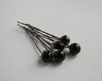 Black Hair Pins, Black Bobby Pins, Black Pearls, Bridal Hair Pins, Bridal Hair Accessory, Black Hair Accessories, Ballet Bun.