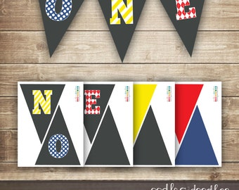 1st Birthday Pennant Banner / Printable Pennant Banner, Boy's First Birthday, Red, Blue, Yellow, Primary Colors INSTANT DOWNLOAD - Printable