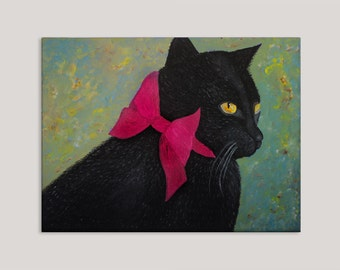 Original Painting, Cat Painting, Cat Art, Black Cat, Cat Portrait, Acrylic Painting, Cat Lover Gift, Canvas Painting, Kitty