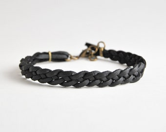 Black braided bracelet for him, Faux leather bracelet, male bracelet, male friendship bracelet, boyfriend gift