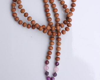 Sugilite Sandalwood Mala  - Meditation Inspired Yoga Beads BOHO chic / mala beads