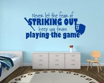 Baseball Wall Decal, Personalized Baseball Decal, Kids Room Decor, Wall Art