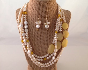Light Yellow Pearl Necklace & Earrings