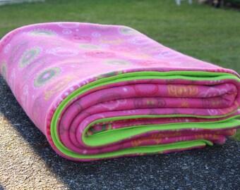 Pink Green Monkey Fleece Blanket,  Pink Green Monkey Fleece Throw, Pink Monkey Blanket, Monkey Fleece Throw, Pink Monkey Blanket,