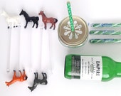 Unpainted Charming Pony / Horse Gold Animal Drink Stirrers, Swizzle Stick, Cocktail Stirrer - Set of 10 on clear stick