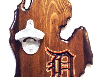 "Detroit, Michigan ""D"" Custom-Engraved, Wall-Mounted Bottle Opener"