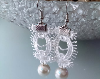 Lace earrings pearl earrings wedding jewelry earrings ivory bridal earrings bridesmaid earring bridesmaid gift dangle earrings