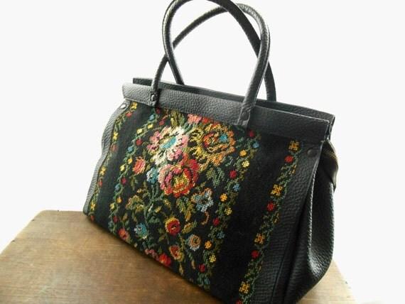 damen vintage tasche schwarz handtasche mit gestickten rosen. Black Bedroom Furniture Sets. Home Design Ideas