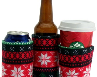 Beverage Insulator #SkiSweater FairIsle Fabric #Eco PocketHuggie-,Cold/Hot 3 SIZES Cup,Can,Glass Beer, #Skiing #UglySweater #Starbucks