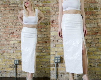 white wedding vintage 90s white SEQUIN maxi xs long fitted skirt THIGH high slit minimalist bride club kid all over sequin column skirt
