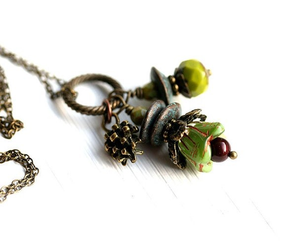 olive green woodland necklace floral jewelry olivine by