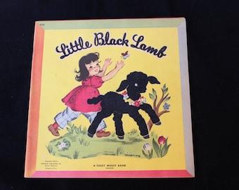 Little Black Lamb 1940s Children's Book Fuzzy Wuzzy Storybook Flocked