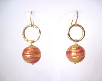 Peachy coral with gold swirl earrings