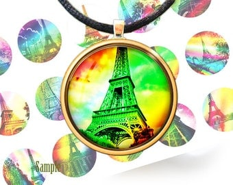 Rainbow eiffel tower bottle cap images - 1 inch rounds 1'' scrapbooking digital printable images for scrapbooking 4x6 BUY 2 GET 1 FREE