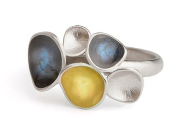 Fine jewelry ring , Asymmetrical ring , small elegant ring , Contemporary jewelry, silver blue ring