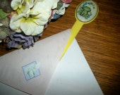 Letter Opener Frog Floral Picture Yellow Knife Vintage Home Office Women's Stationery Supply Novelty Gift