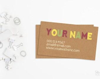 Business card design Kraft paper business card Kraft business card Bright business card Natural business card Printable