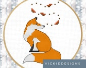 Fox Leaves Autumn Fall Modern Cross Stitch Pattern PDF