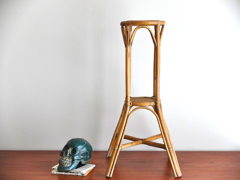 sellette porte plante en rotin bambou ann es 60 1960 vintage. Black Bedroom Furniture Sets. Home Design Ideas