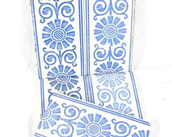 Vintage Decorative Ceramic Border Tile Set Wall Tiles Trim Tiles Set of 5