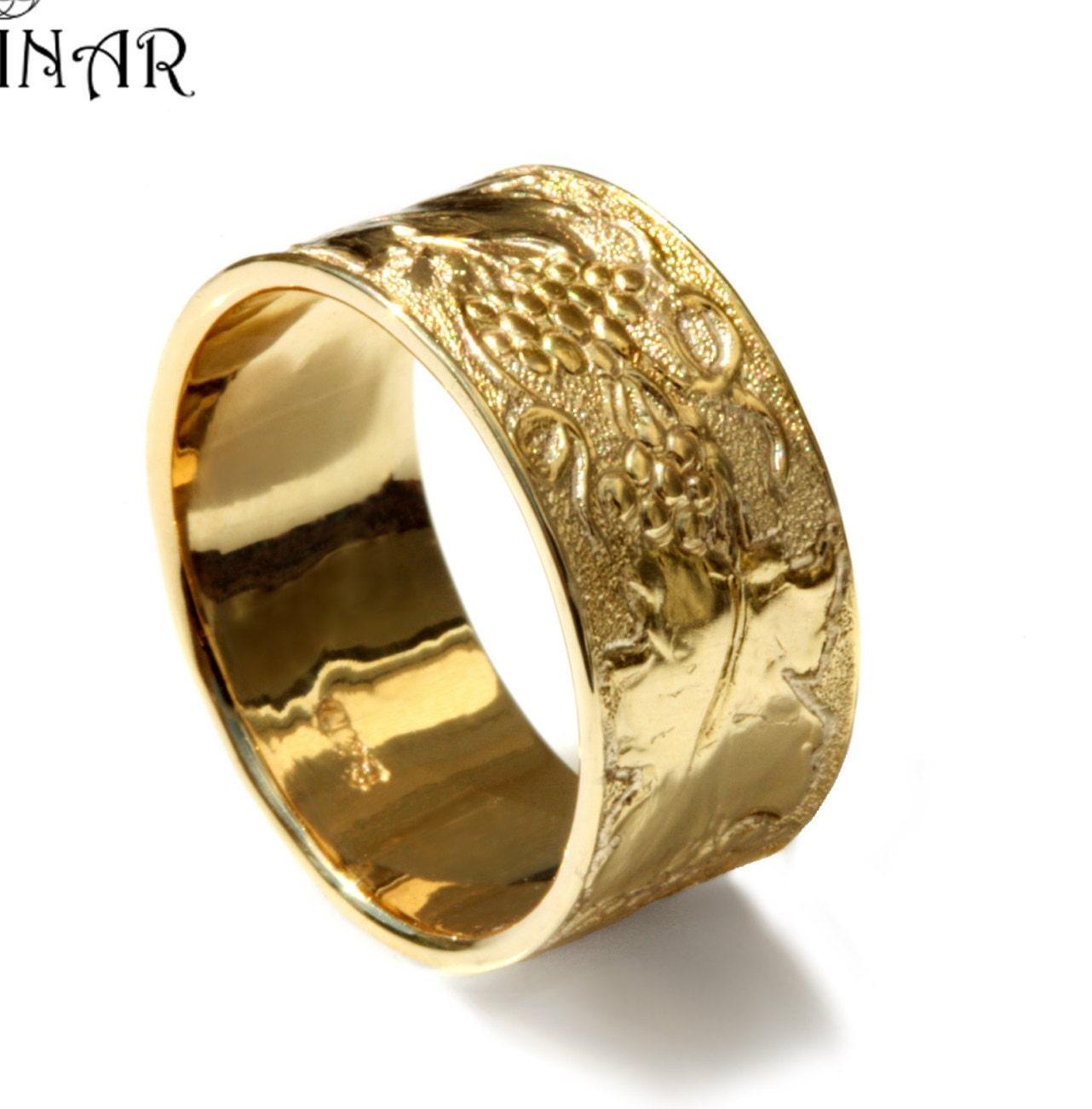 14k yellow gold leaf wedding band women wide wedding ring