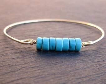 Natural Turquoise Bangle Bracelet, 14k Gold or Sterling Silver Turquoise Bangle, Bracelet Turquoise Bangle Bracelet, Turquoise Jewelry