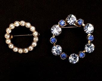 Two Sweet Little 1950s Rhinestone Circle Pins