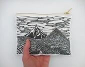 Mountain Block Print Pouch - Small Zippered Pouch featuring Oregon Cascade Mountain Scene