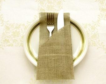 6 - Rustic silverware burlap holders, wedding cutlery holders
