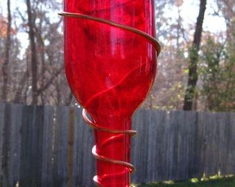 Wine Bottle Hummingbird Feeder With Red Metal Flower Nozzle