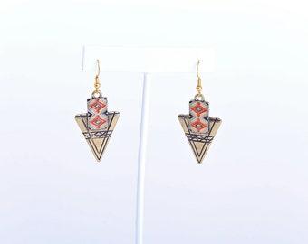 Golden Tribal Arrowhead Earrings