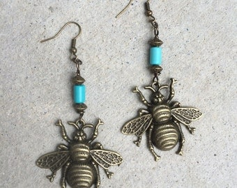 BumbleBee Turquoise Earrings