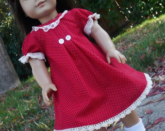 American girl, Handmade, Holiday Dress, Christmas Dress , Doll outfit, Costume,red dress
