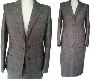 80s does 50s wool plaid suit pencil skirt jacket S