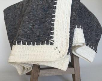 SALE, handmade blanket Hook, grey and white crochet blanket