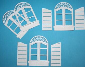 4 Glitter Spellbinders Windows That Open With Shutters/Spellbinders/Die Cuts/Embellishments/Card Making/Scrapbooking/Die Cut Windows
