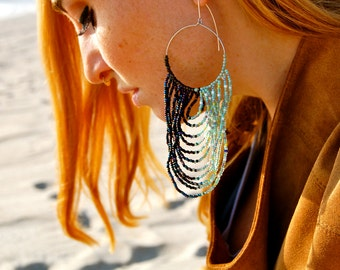 Lonely Joni- Sterling Silver and Seed Bead Avant- Garde Looped Earring
