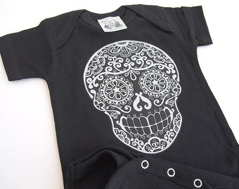 Baby Day of the Dead Romper | Punk kids clothing by Bones Nelson 0 3 6 9 12 months Bodysuit sizes