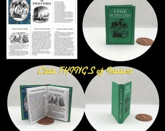 A TALE of TWO Cities 1:6 Scale Readable Illustrated Book bjd Momoko Barbie Scale